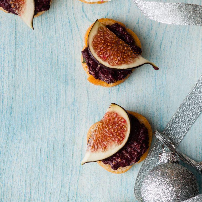 Fig and Black Olive Tapenade Crostini