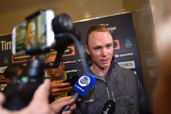 Chris Froome draws a crowd at the Tirreno-Adriatico press conference