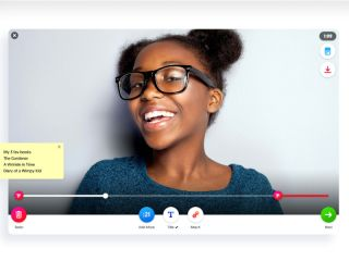 Smiling girl in Flipgrid video editing window