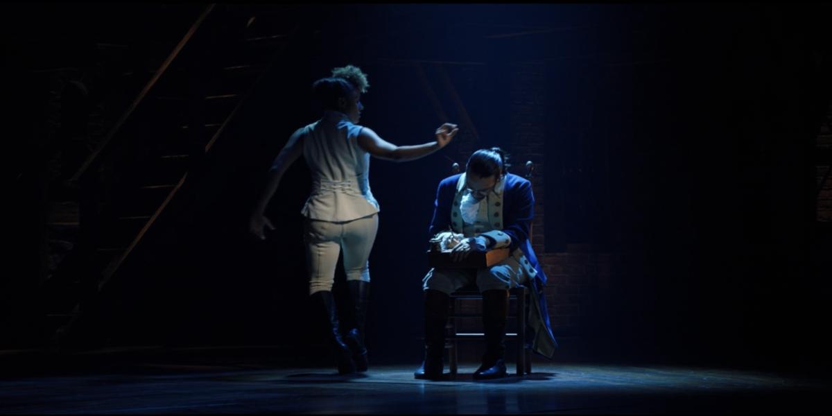Ariana DeBose as The Bullet and Lin-Manuel Miranda as Hamilton