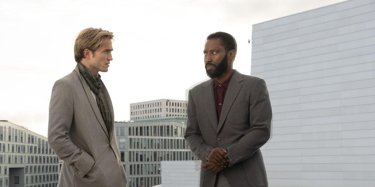 Robert Pattinson on the left, John David Washington on the right