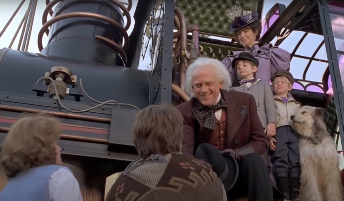 Back to the Future Part III Doc introduces his family to Marty and Jennifer