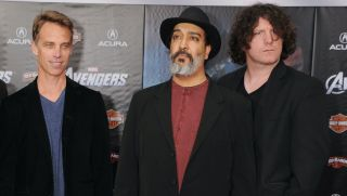 "Matt Cameron, Kim Thayil and Ben Shepherd of Soundgarden attend the Los Angeles premiere of ""Marvel's Avengers"" at the El Capitan Theatre on April 11, 2012 in Hollywood, California"