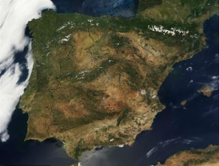 Iberian peninsula satellite picture.