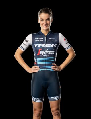 Trek-Segafredo's Lizzie Deignan wears her team's 2020 kit, with a jersey that's made from recycled materials, including plastic bottles