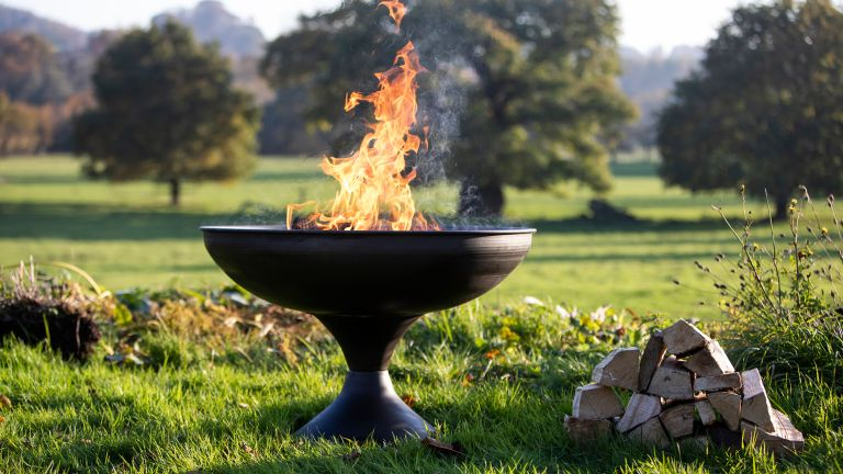 fire pit ideas: firepit UK curved fire bowl