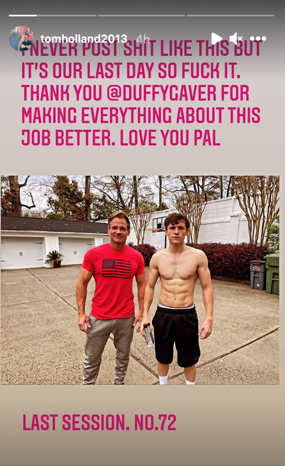 Tom Holland and trainer Duffy Gaver on last day of training