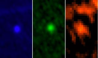 ESA's Herschel Space Observatory captured asteroid Apophis in its field of view during the approach to Earth on January, 5-6, 2013. This image shows the asteroid in Herschel's three PACS wavelengths: 70, 100 and 160 microns.