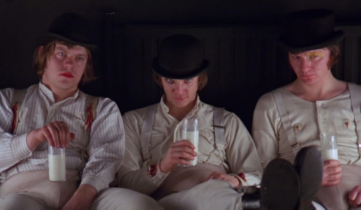 A Clockwork Orange Malcolm McDowell sits with his Droogs at the milk bar