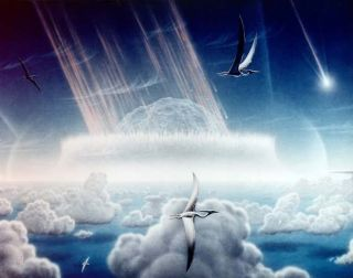 An artist's impression of a giant space rock slamming into Earth 65 million years ago near what is now Mexico's Yucatan Peninsula.