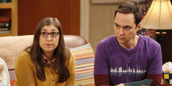 amy and sheldon playing cards big bang theory