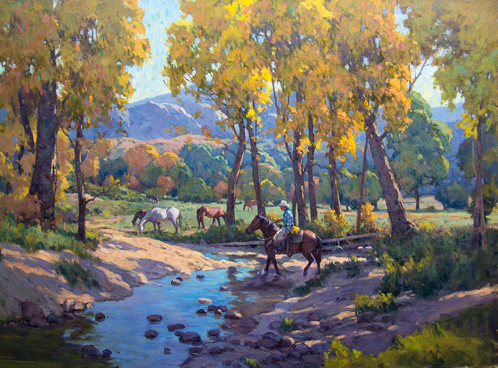 A painting of horses by a wooded stream