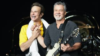 David Lee Roth and Eddie Van Halen perform at Shoreline Amphitheatre in Mountain View, California, on July 16, 2015
