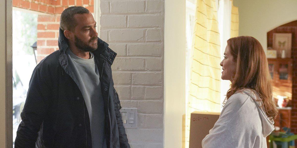 Jesse Williams as Jackson Avery and Sarah Drew as April Kepner in Grey's Anatomy.