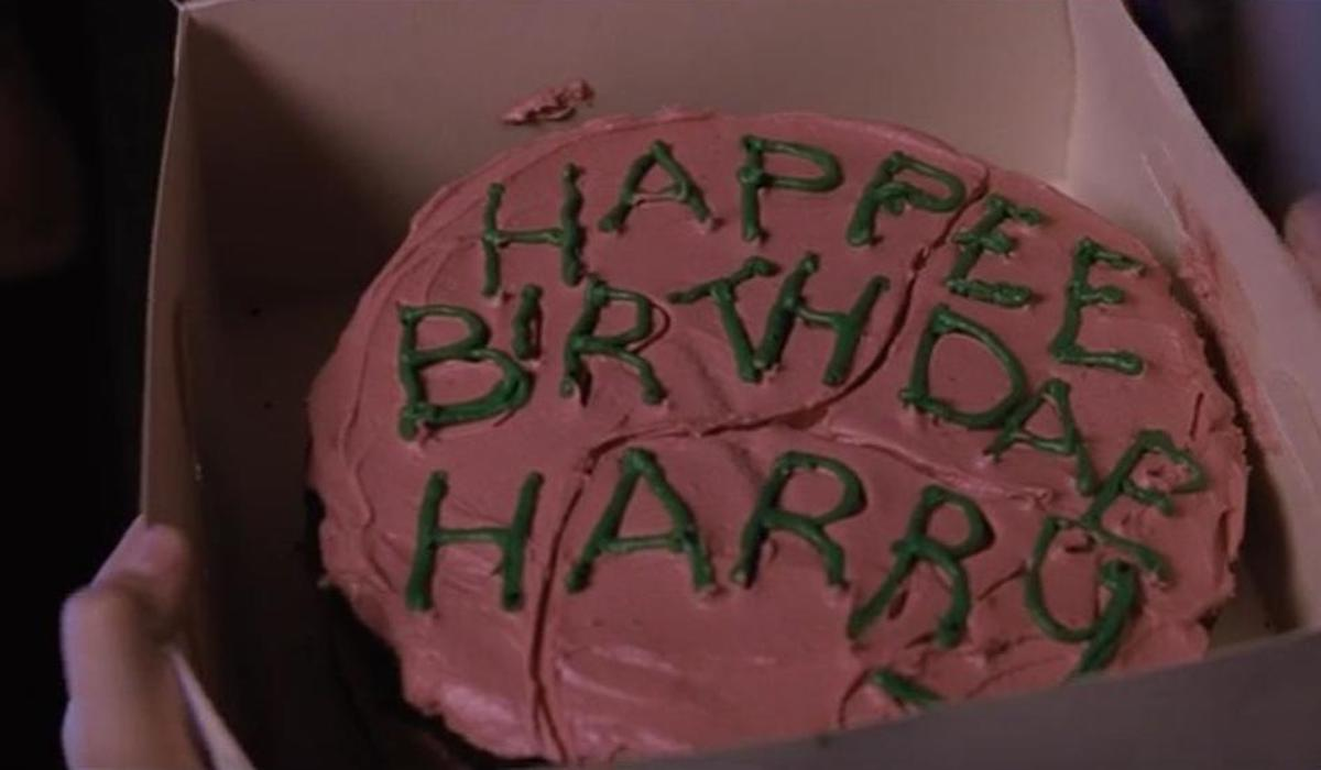 Harry Potter's birthday cake in Sorcerer's Stone