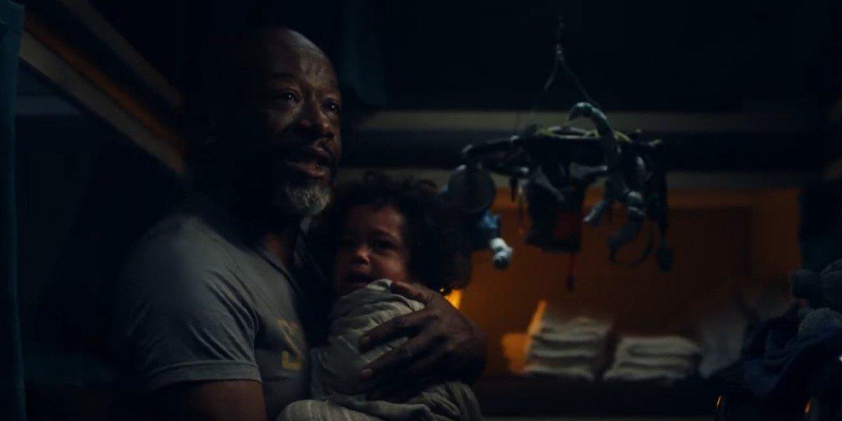 morgan and screaming baby on fear the walking dead season 7