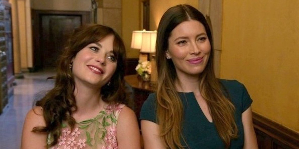 Zooey Deschanel and Jessica Biel in New Girl Season 4