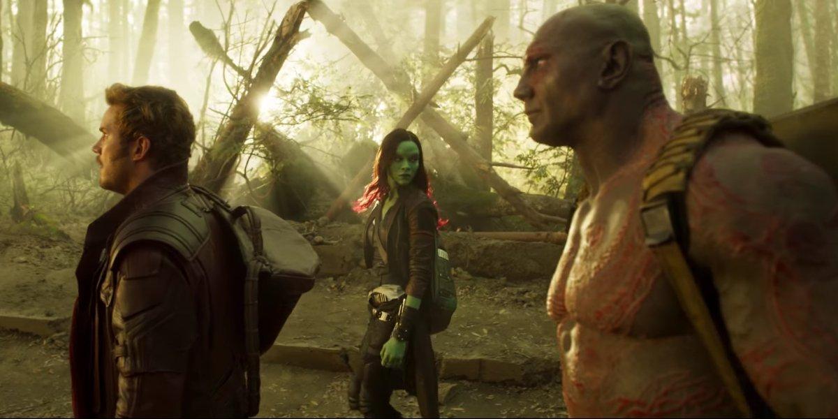 Chris Pratt, Zoe Saldana, and Dave Bautista in Guardians of the Galaxy Vol. 2