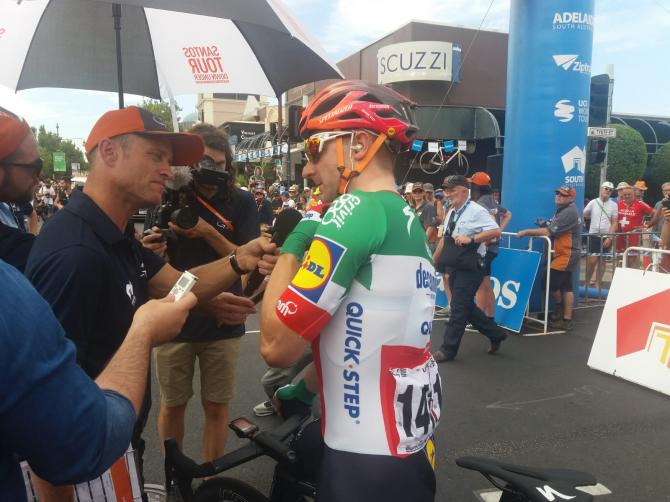 Elia Viviani before the start of stage 1 at the Tour Down Under