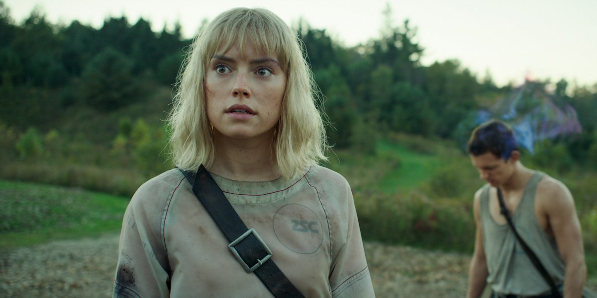 Daisy Ridley looking out as Viola Eade in Chaos Walking