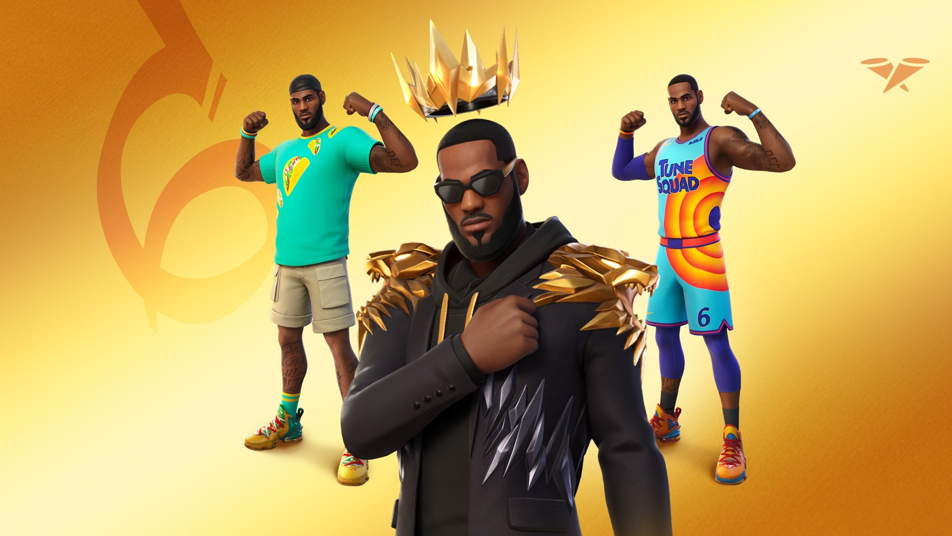 Three LeBron James Fortnite Skin designs. One in a Tune Squad outfit, another wearing a casual look and another with a gold crown.
