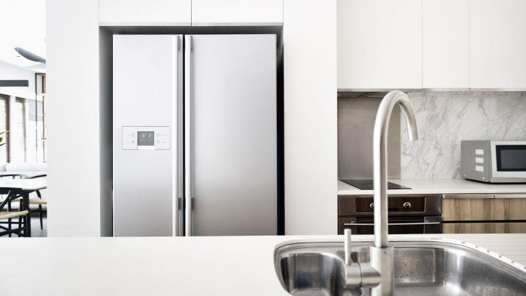fridge in a clean, minimal kitchen
