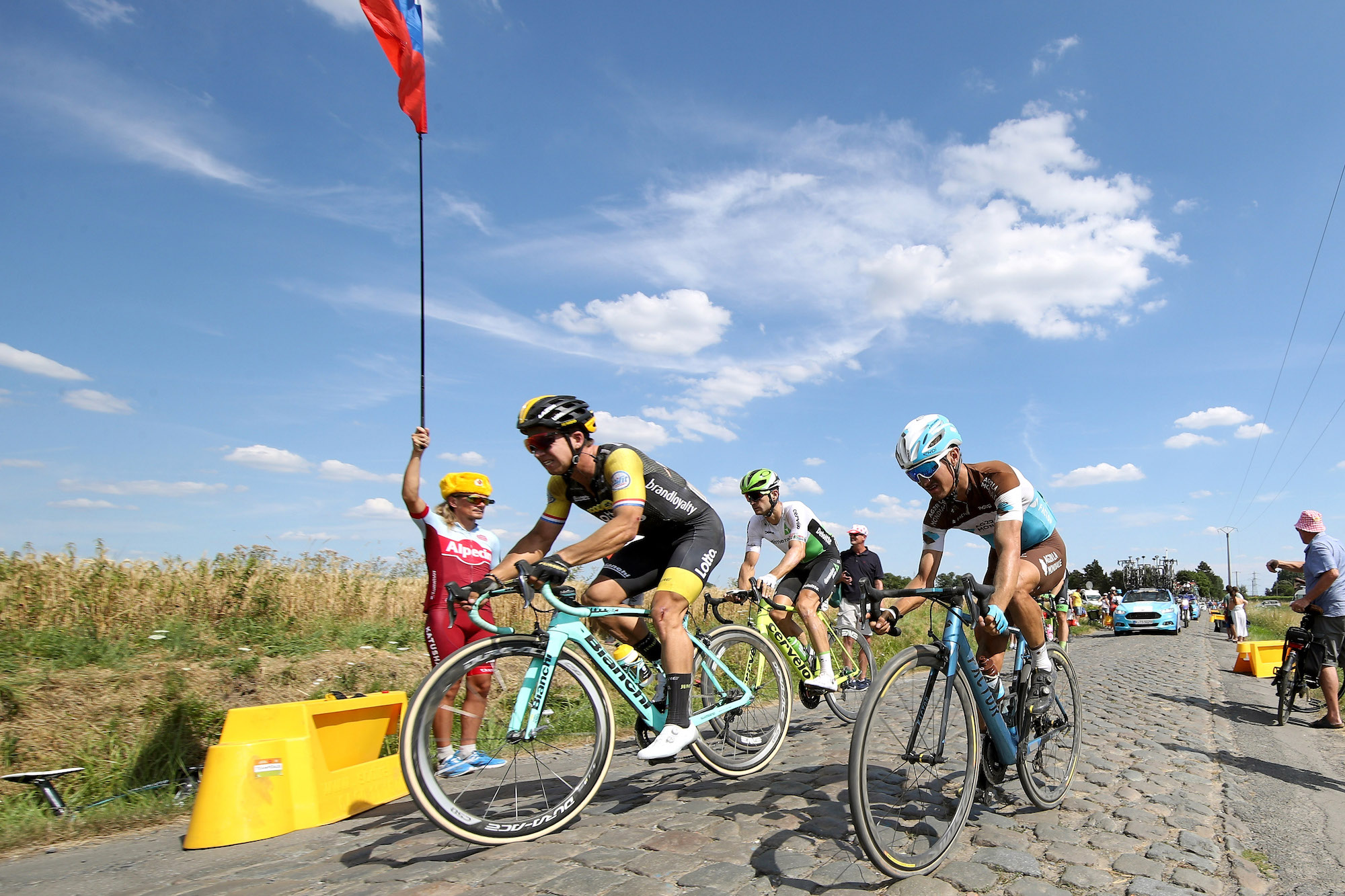 The penultimate Paris-Roubaix cobbled sector has been partially tarmacked