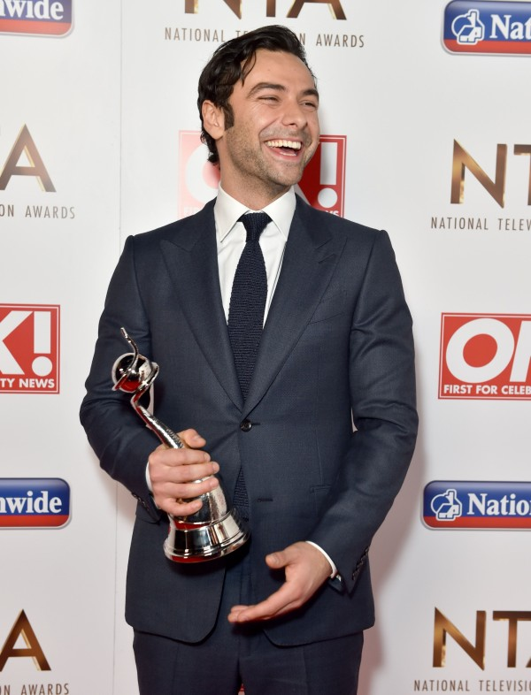Aidan Turner with his National Television Award