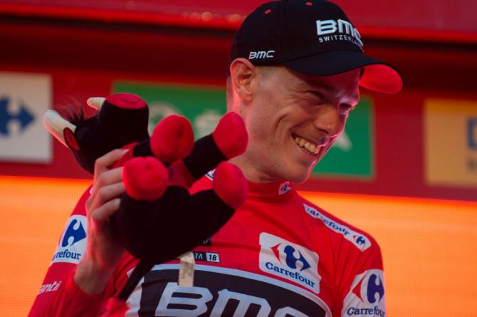 Rohan Dennis (BMC) celebrates in the leader's jersey