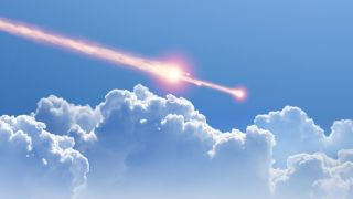 An artists impression of a meteor breaking apart during the daytime.