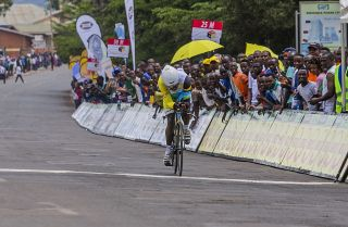 Jean Bosco Nsengimana wins the first stage of the 7th Tour of Rwanda in Kigali on November 15, 2015