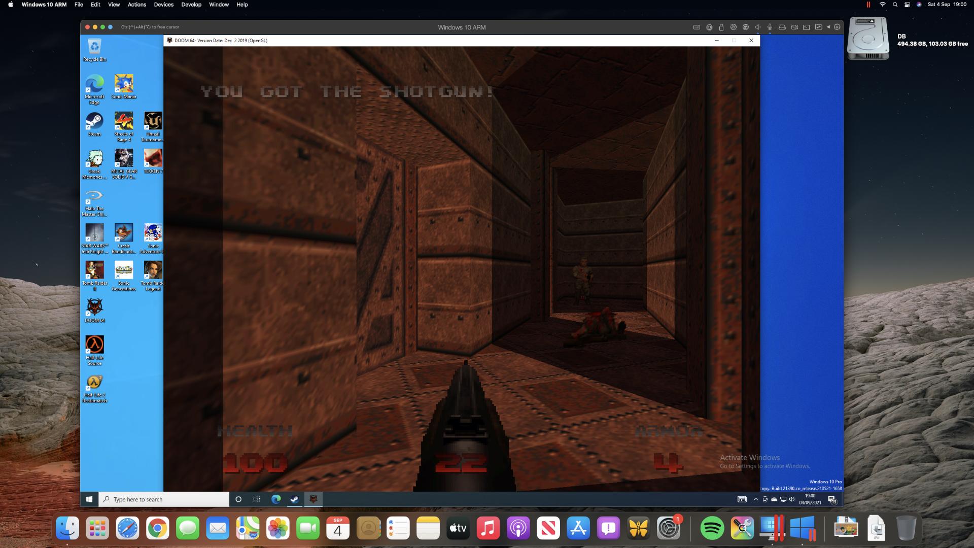 Quake running in Parallels Desktop on a Mac mini M1