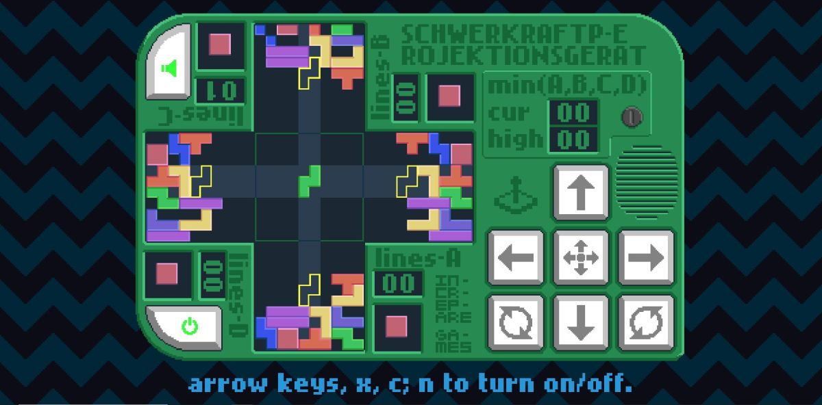 Play four games of Tetris at once in this puzzler with a very long name