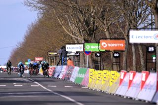 NTT's Giacomo Nizzolo sprints to victory on stage 2 of the 2020 Paris-Nice, at a stage finish in Chalette-sur-Loing devoid of spectators, who were kept at a distance due to fears about the coronavirus spread
