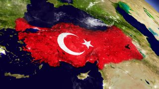 土耳其国旗和地图