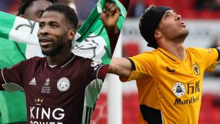 Leicester City vs Wolverhampton Wanderers live stream Premier League 2021-2022: Kelechi Iheanacho of Leicester City celebrates victory following The Emirates FA Cup and Raul Jimenez of Wolverhampton Wanderers celebrates scoring his sides first goal