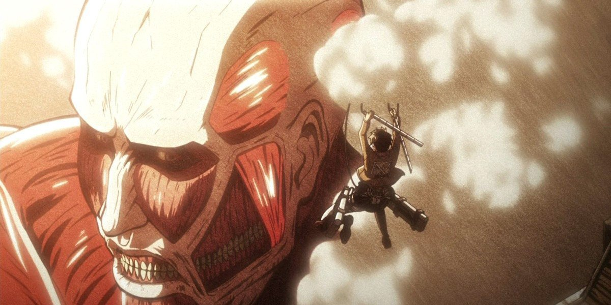 Eren Yeager attacking a titan on Attack on Titan