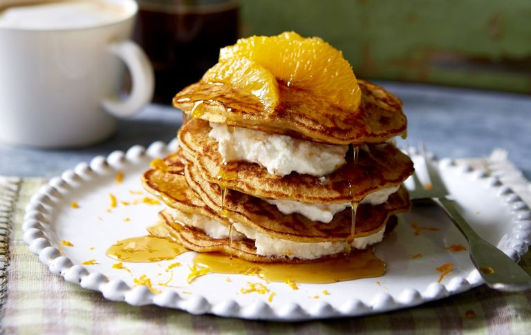 Carrot cake pancakes with orange cream cheese