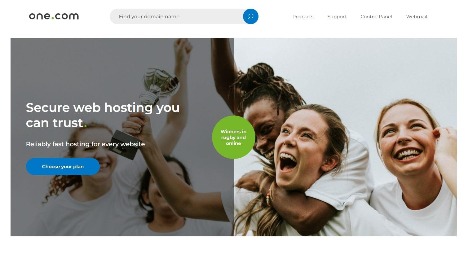 One.com's homepage