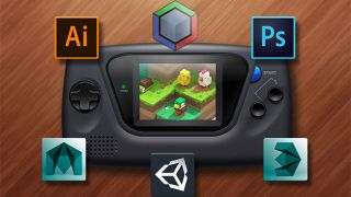 Handheld games console surrounded by software icons