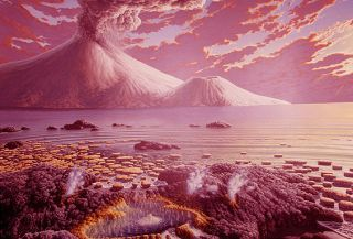 Artist's illustration of early life on Earth.
