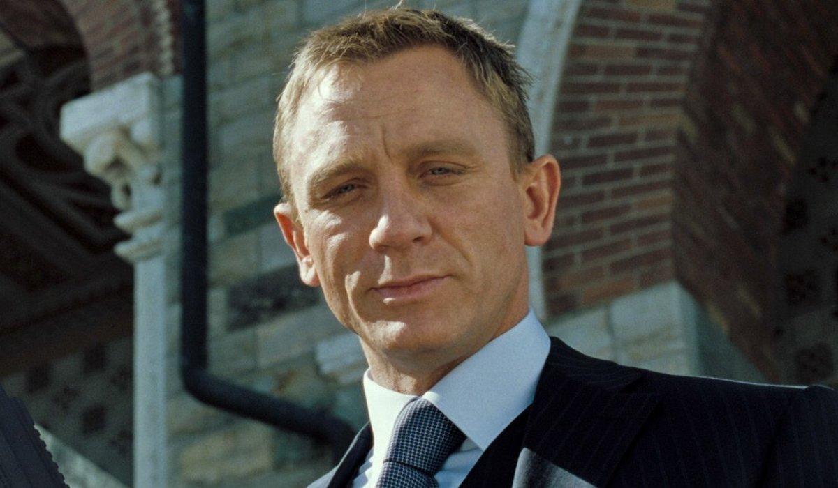 Daniel Craig smirks at his off screen target in Casino Royale.