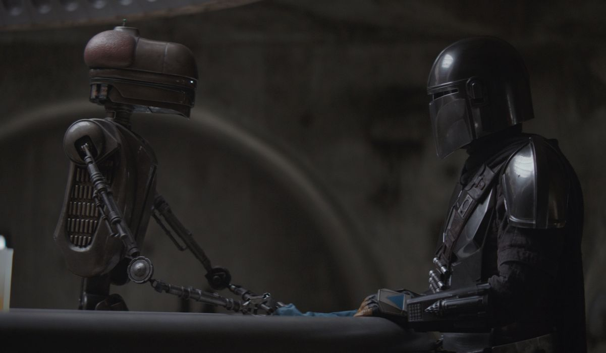 Mandalorian and a droid