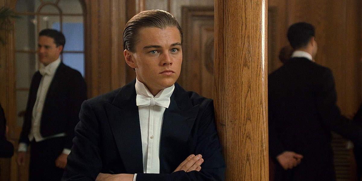Leonardo DiCaprio wearing tuxedo in Titanic