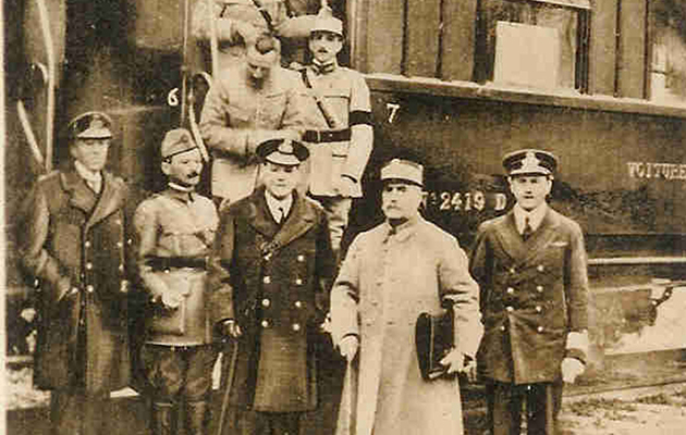 WWI: The Final Hours - Photograph taken 11 November 1918 as Marshal Foche, second from right, leaves the railway carriage in which the Armistice which