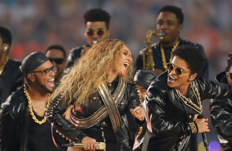 Beyonce and Bruno Mars perform during the Pepsi Super Bowl 50 Halftime Show at Levi's Stadium on February 7, 2016 in Santa Clara, California