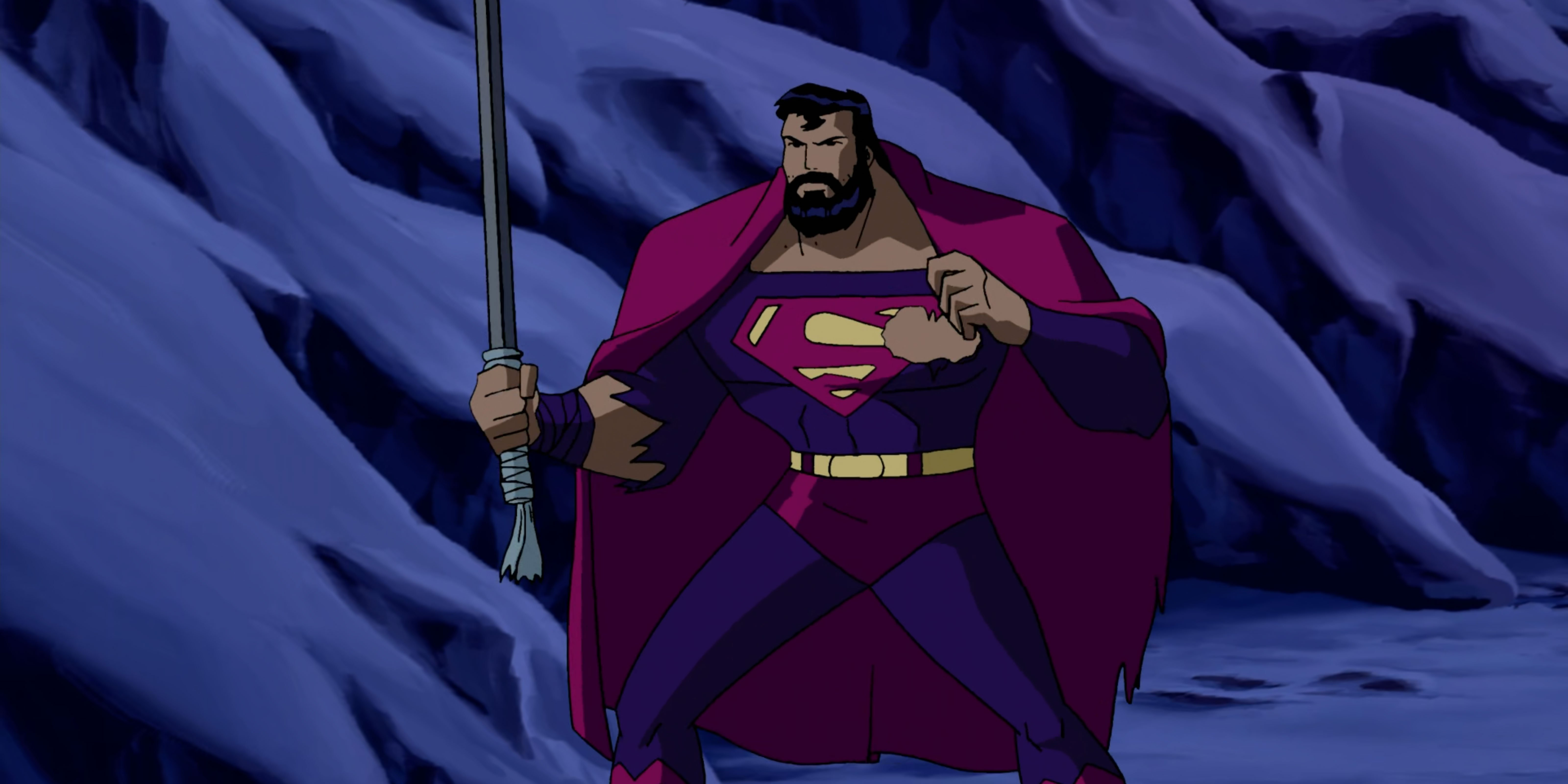 A bearded Superman fights hand to hand.