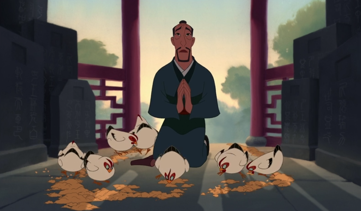 Mulan's father with chickens in 1998 version