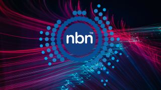 NBN logo on fibre optic background