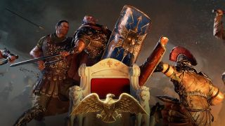An art image from video game Imperator: Rome of ancient warriors fighting over a throne